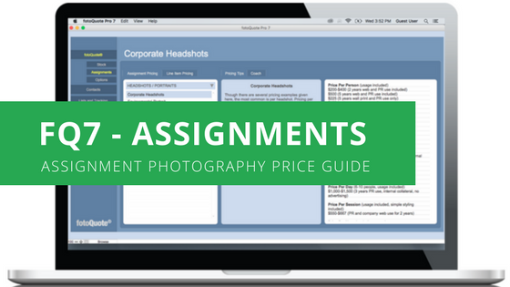 Assignment Photography Price Guide