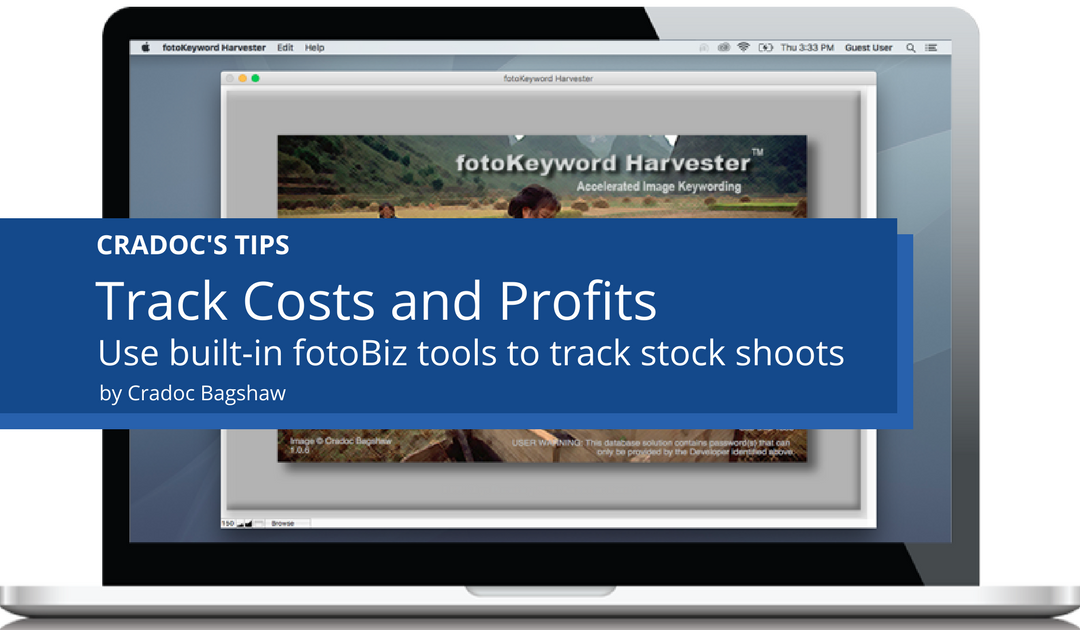 Photographers track costs and profits of stock photo shoots using tools built into fotobiz X from Cradoc fotoSoftware